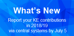 Report your KE contributions in 2018/19 via central systems by July 5