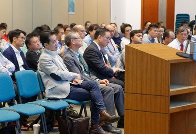 VIPs of the audience – (second and third from left in the front row) Professor Andy Hor, HKU Vice-President and Pro-Vice-Chancellor (Research), and Mr Nicholas Yang, GBS, JP, Secretary for Innovation and Technology of Hong Kong SAR