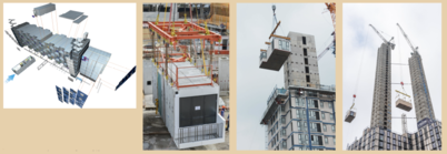 Modular Integrated Construction (MiC) design, transport and installation [photo courtesy of China International Marine Containers (Group) Co., Ltd., Dragages Singapore Ltd., Tide Construction Ltd. and Atlantic Modular System Ltd.  (from left)]