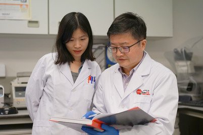 Professor Zhiwei Chen (right) discussing with PhD Candidate, Ms Dongyan Zhou, on COVID-19 antibody drug discovery