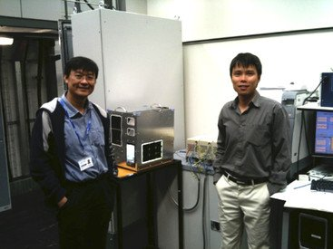 The first hardware test of electric spring in 2011 by Professor Ron Hui (left) and Dr Chi Kwan Lee