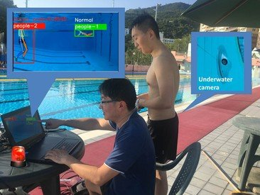 Dr Wilton Fok (left) and the Project Officer, Mr Louis Chan, conducting testing and collecting data in the HKU Henry Fok Swimming Pool