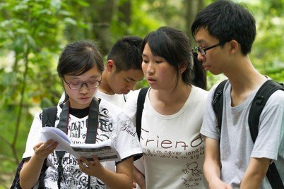 Students completing Take Action! workbook tasks in the Tai Po Kau forest