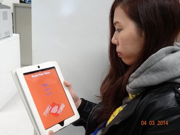A teacher using the App
