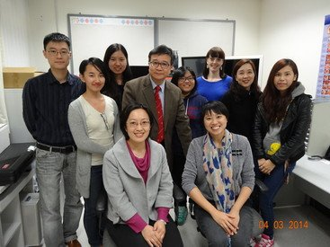 Professor Edwin Yiu (4th from left, standing) and Voice Research Lab Team members