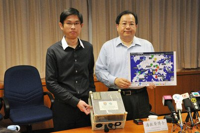 Principal Investigator Dr Jason Pun (right) and project manager So Chu-wing (left) of the Hong Kong Night Sky Monitoring project