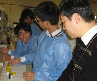 Prof. Edward C M Lo (first right) guiding the workshop participants in the laboratory
