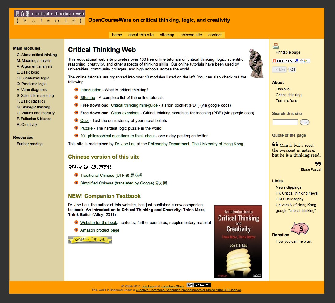 critical thinking web She has a talent for critical thinking we need to look at these proposed changes with a critical eye before we accept them recent examples of critical from the web.