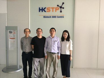Professor Aimin Xu (third from left) and his team at the Hong Kong Science Park, where their start-up is located