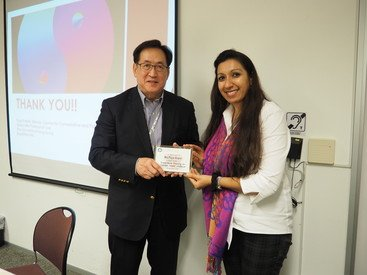 Ms Puja Paryani (right) and Dr York Chow, former Chairman of the Equal Opportunities Commission (EOC), at the research presentation on Gender-Based Violence held by EOC in November 2015