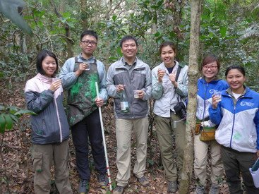 The HKU research team celebrating the tagging of the last and 81,021st tree in the ForestGEO plot in Tai Po Kau on December 8, 2015: (from left) Lett Lee, Ray Chu, Bond Shum, Shirley Mak, Helen Lo and Wai Ling Lam