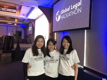 HKU BBA(Law)&LLB students on team Decoding Law (left to right): Alison Li, Edelweiss Kwok, Sally Yiu